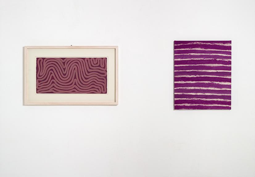VIVRE OU MOURIR <p>Sol lewitt 1999 <strong><em>Sans titre</em> </strong>gouache sur papier 28,5x57cm</p> <p>Quentin Derouet <em><strong>De la nuit si nulle</strong> </em>2016 Rose sur toile 46x55cm</p>  - Helenbeck Gallery Nice
