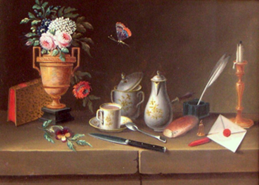 ESTIVAL MINIMAL <p>Paul Lelong<br /> <em>Nature morte au papillon Fin XVIII</em><br /> Gouache sur papier 15 x 20 cm</p>  - Helenbeck Gallery Nice